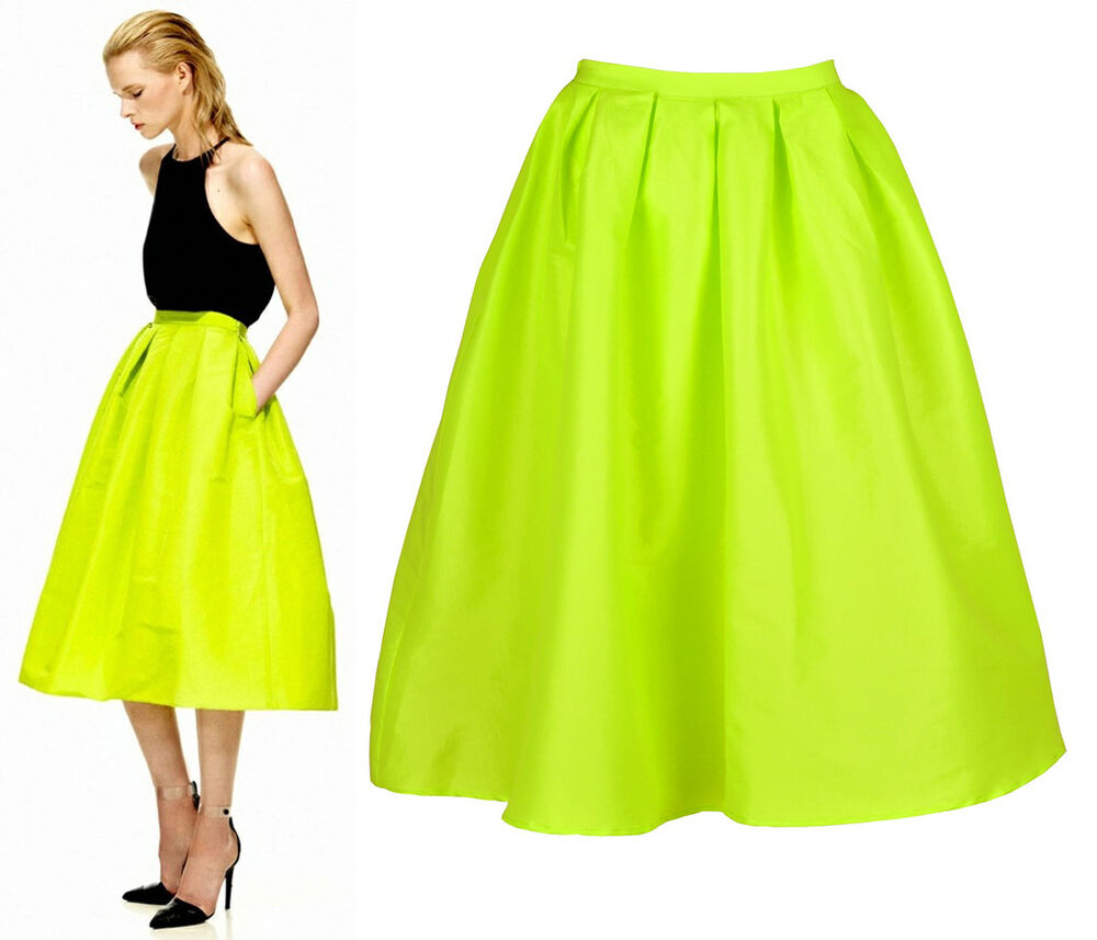 Street Bright Neon Yellow/Green Midi Full Prom Pleat Skirt Faille ...
