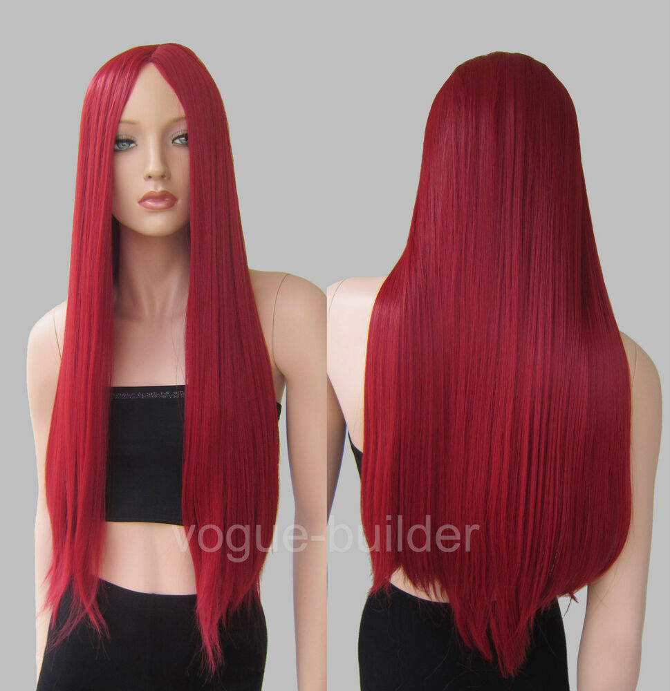 28 inch Long Heat-resistant Dark Red Midpart No Bangs ...