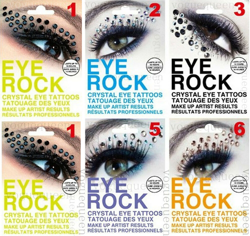 Eye rock rhinestone crystal eye tattoo eyeliner sticker for Crystal eye tattoos