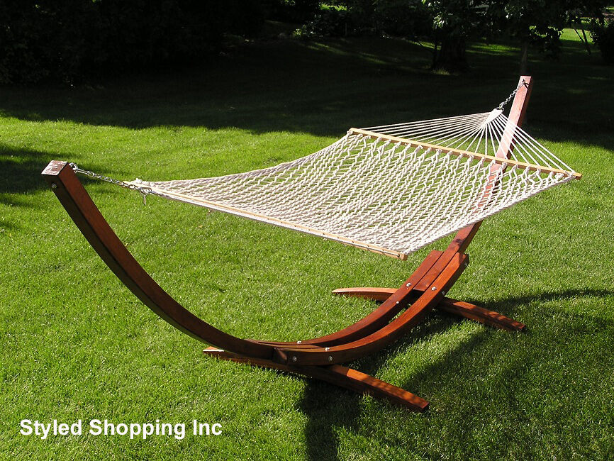 Backyard Hammock Stand : Deluxe Wood Arc Two Person Adult Wood Hammock Stand Set  eBay