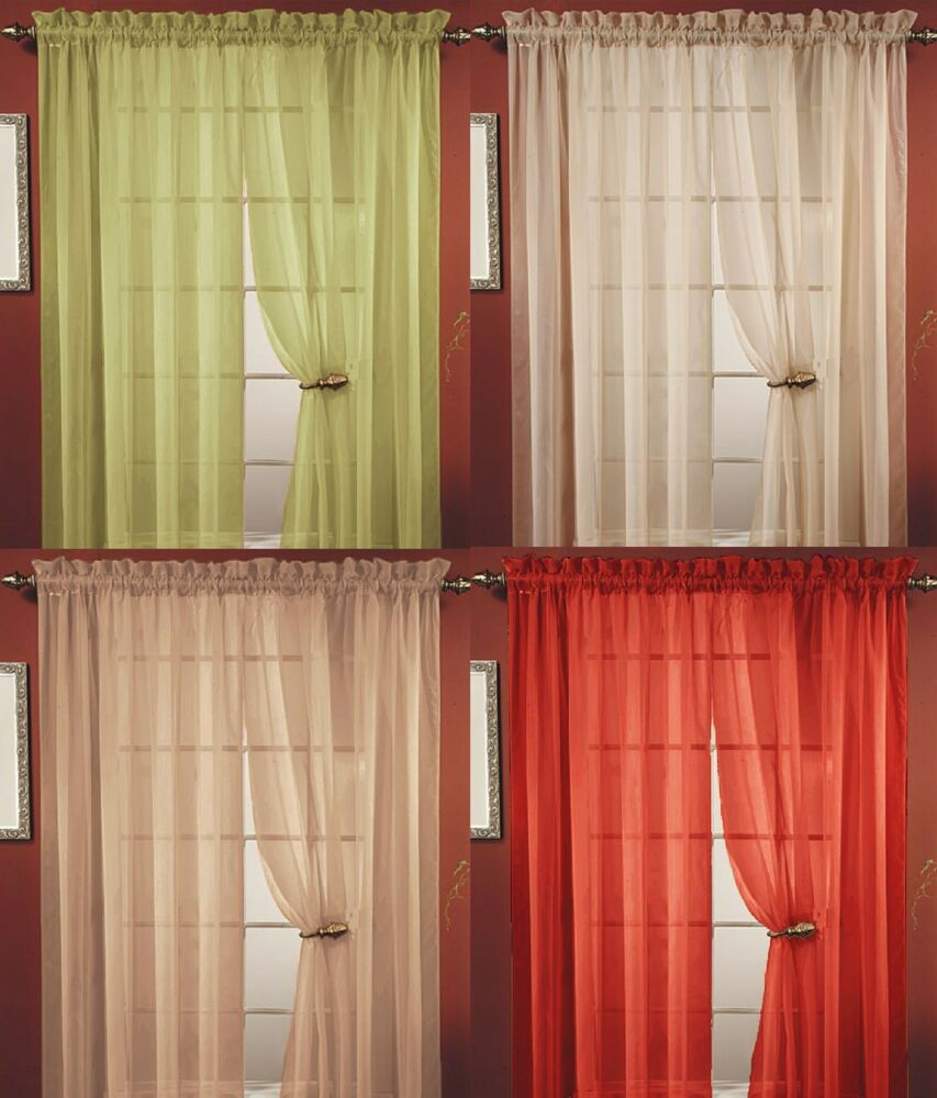 4 pc sheer voile window curtain panel 20 colors great for Window voiles