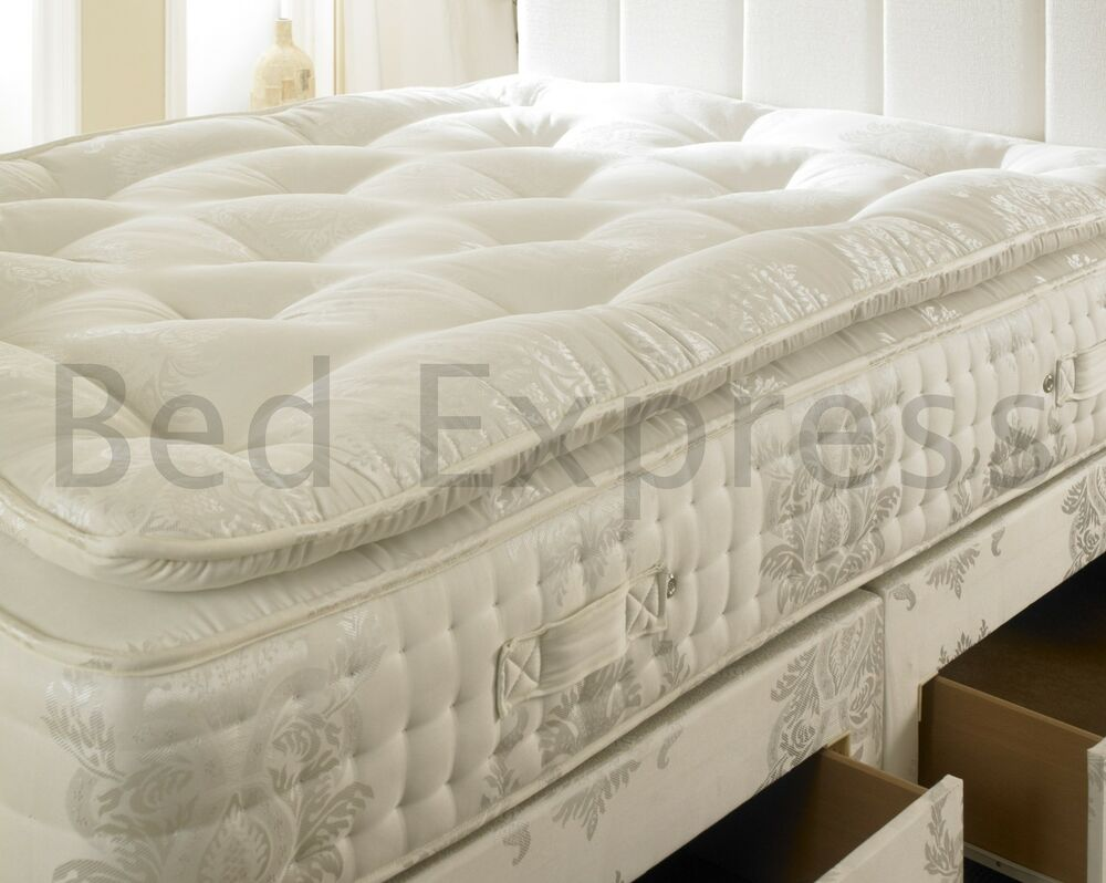 2000 pocket spring organic pillow top mattress double 5ft king size super king ebay Mattress king