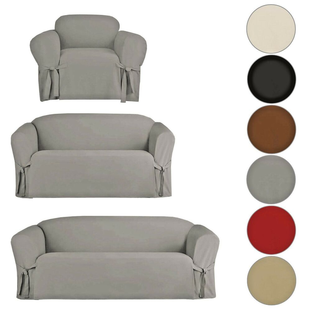 Micro Suede Slipcover Sofa Loveseat Chair Furniture Cover Brown Black Taupe Ebay