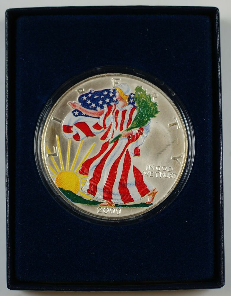 2000 Beautifully Colorized American Eagle Silver Dollar