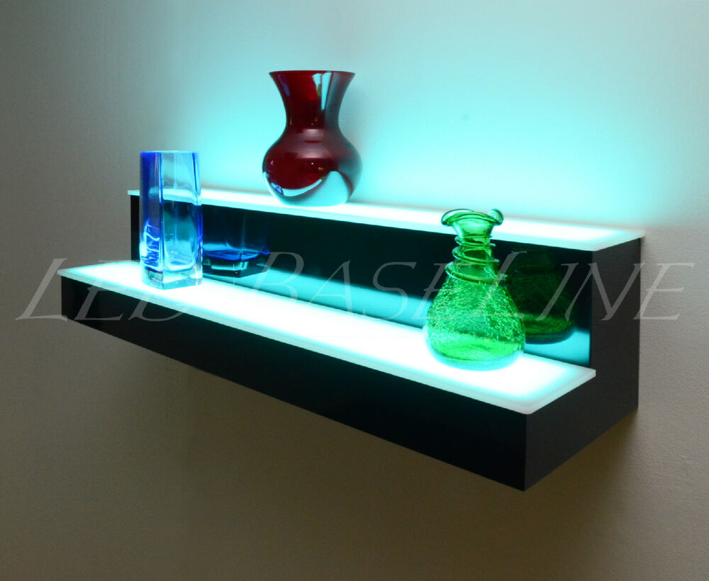 28 color changing led lighted bar shelf 2 step wall mount home bar display ebay. Black Bedroom Furniture Sets. Home Design Ideas