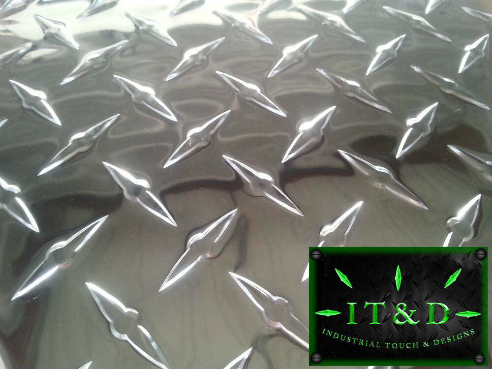 "Diamond Plate Sheets >> Diamond Plate Tread Brite Aluminum 24"" x 48"" 3003 .063 16 Gauge Chrome Polish 