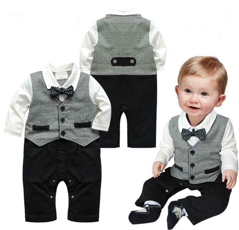 Baby Boy Wedding Check Tuxedo Suit Bowtie Romper Bodysuit ...