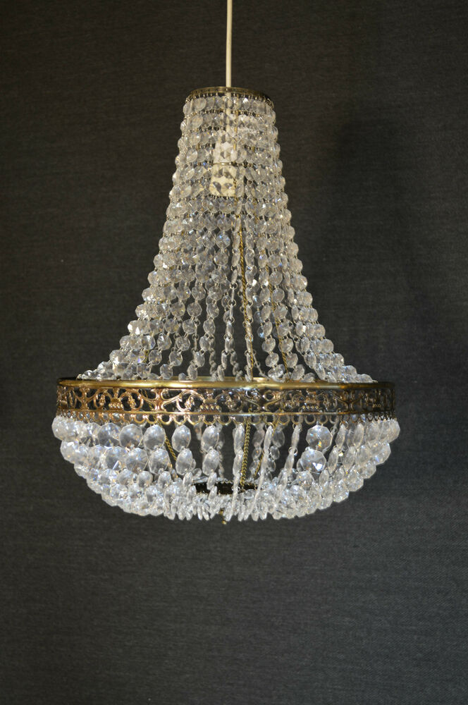 LARGE EMPIRE STYLE CHANDELIER ACRYLIC CRYSTAL ANTIQUE