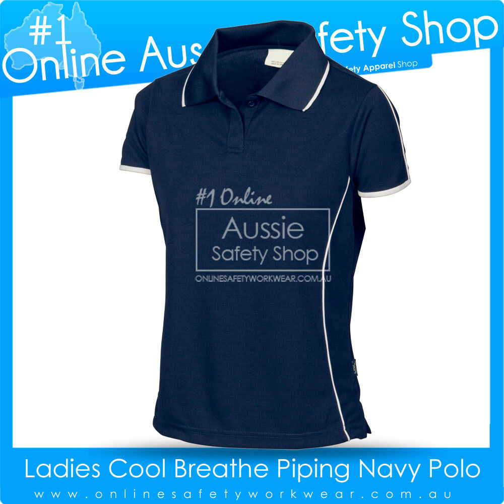 Ladies slim fit navy cool dry soft feel work gym office for Work uniform polo shirts