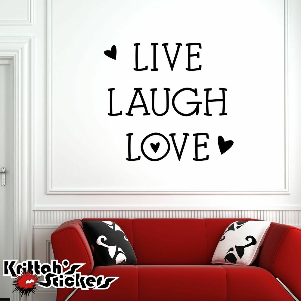 Live Laugh Love Vinyl Wall Decal Home Decor Family Heart