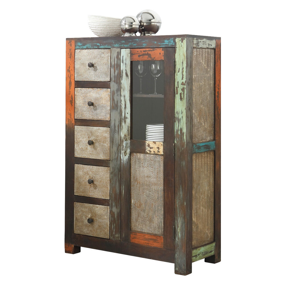brotschrank goa von wolf m bel in massivholz mango vintage used look multicolor ebay. Black Bedroom Furniture Sets. Home Design Ideas
