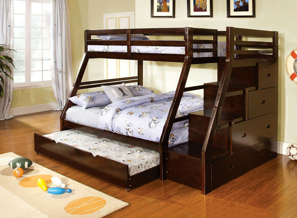 youth kids wood espresso storage stairway twin over full bunk bed with trundle ebay. Black Bedroom Furniture Sets. Home Design Ideas