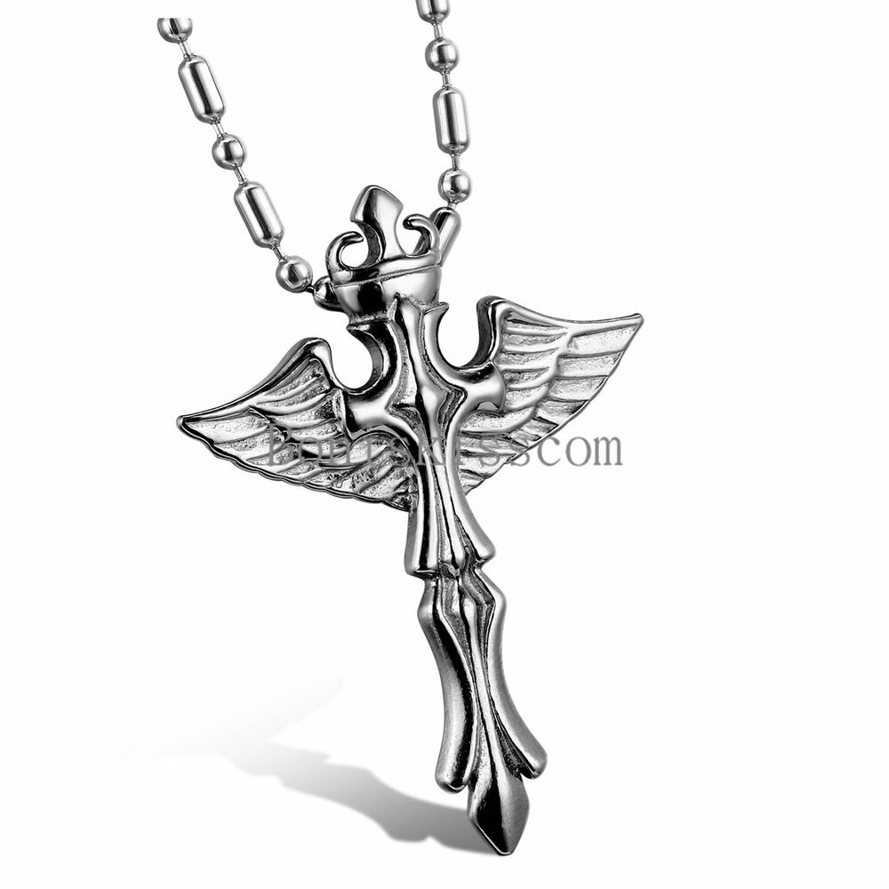Silver Stainless Steel Celtic Cross Angel Wings Pendant Necklace