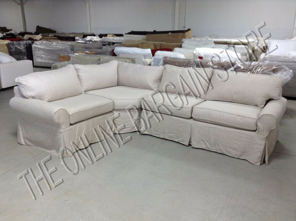 pottery barn pb basic sectional sofa slipcover flax basketweave slipcover 3pc ebay. Black Bedroom Furniture Sets. Home Design Ideas