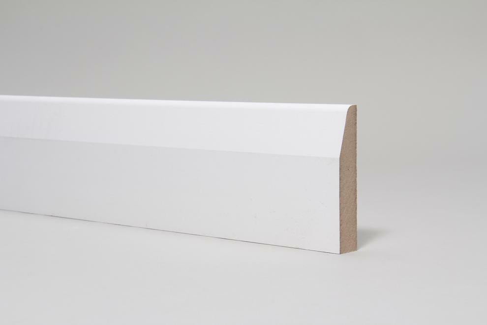 White primed mdf skirting boards mm chamfer round