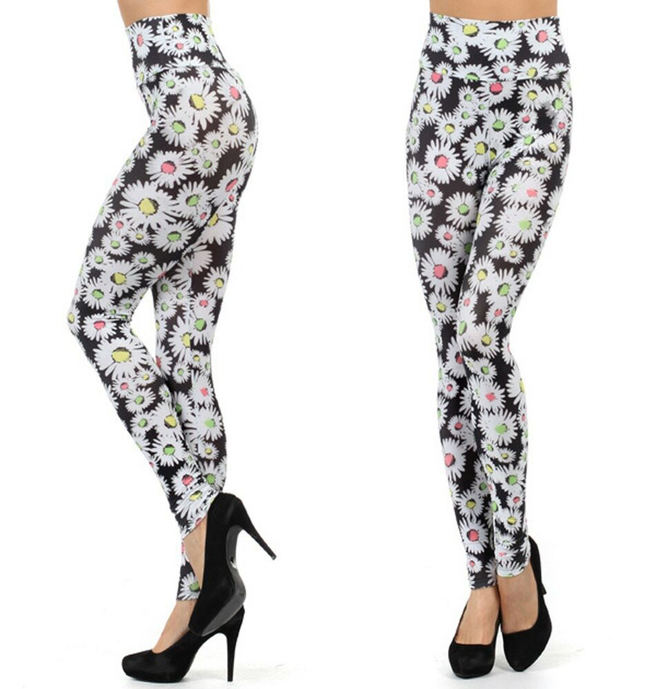Trendy High Waist Floral Print Leggings Stretch Pants USA ...