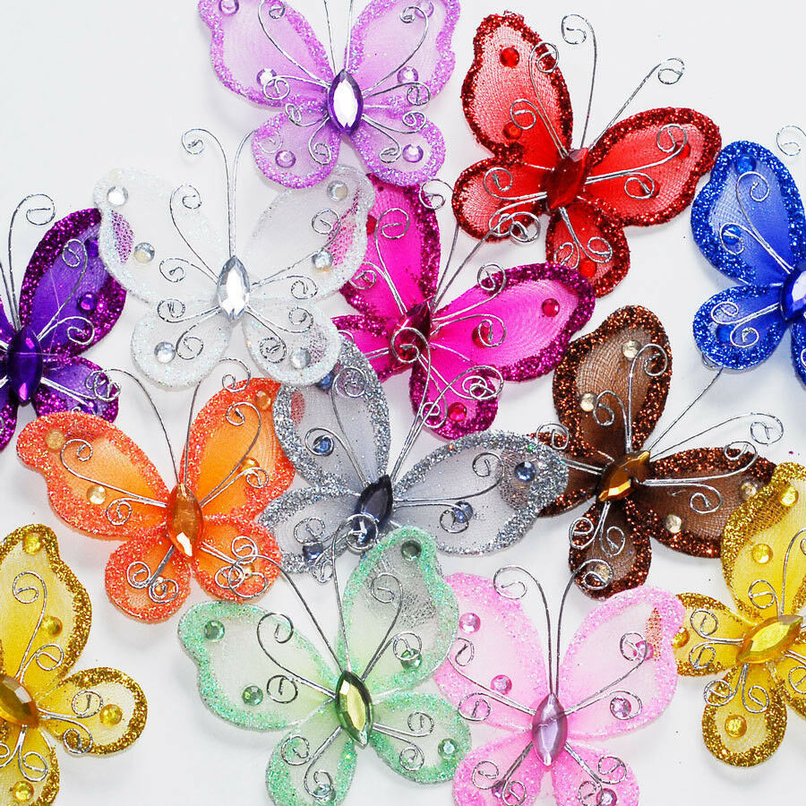 24 organza tulle wire butterfly butterflies nylon wedding for Butterflies for crafts and decoration