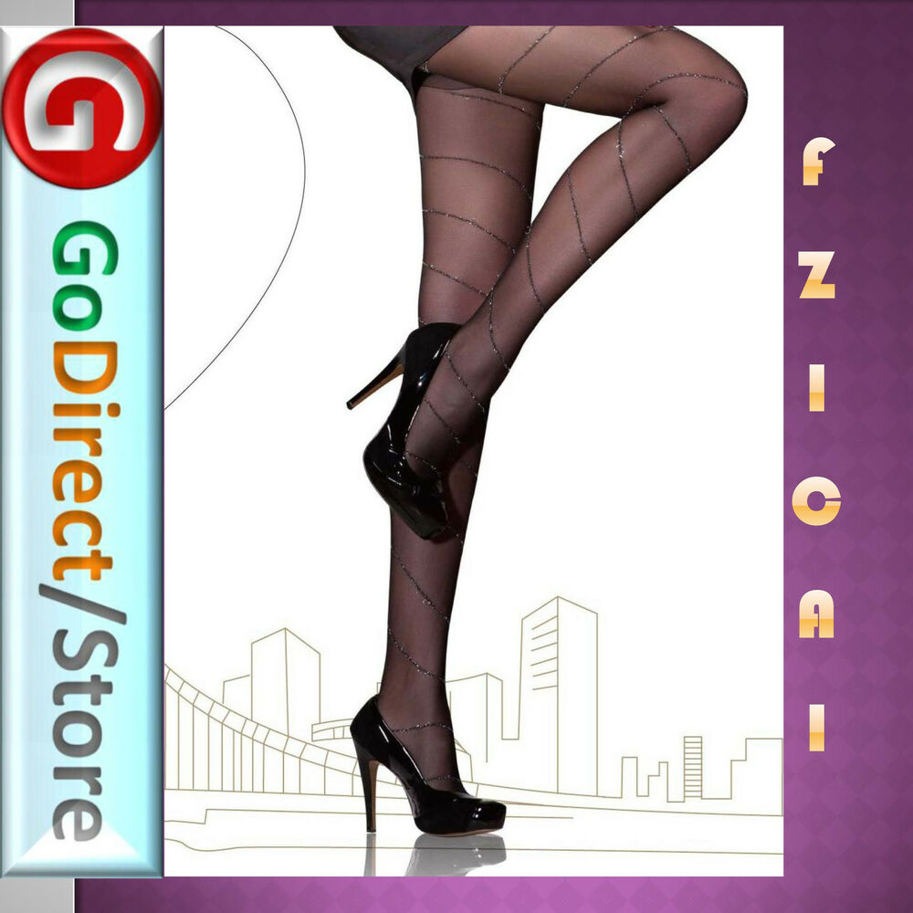 38d12e17932f2 Details about Fzi Cai 12D Silver Shiny Jacquard Tights pantyhose & stockings  Polyamide/Spandex