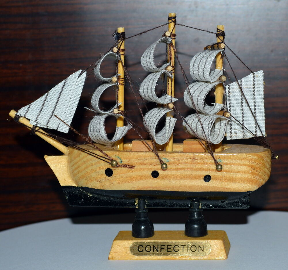4x cute vintage nautical wooden wood ship sailboat boat for Ship decor home