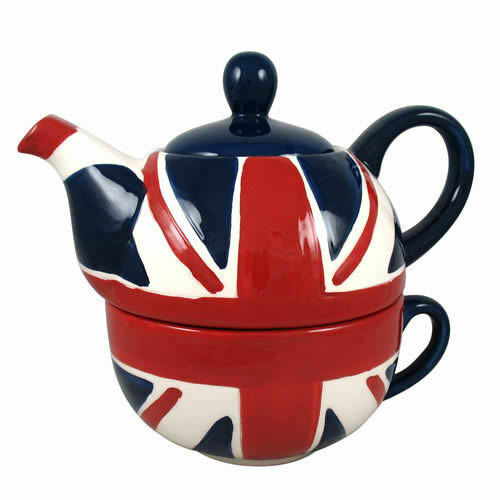 Union jack british flag teapot and cup for one tea for one for Ohrensessel union jack