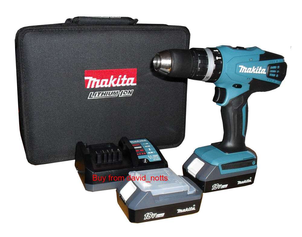 makita 18v li ion cordless combi hammer drill hp457 includes 2 batteries new ebay. Black Bedroom Furniture Sets. Home Design Ideas