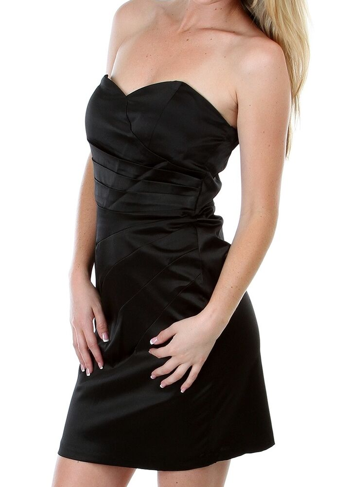 Womens Clothing Sexy Black Pleated Satin Strapless