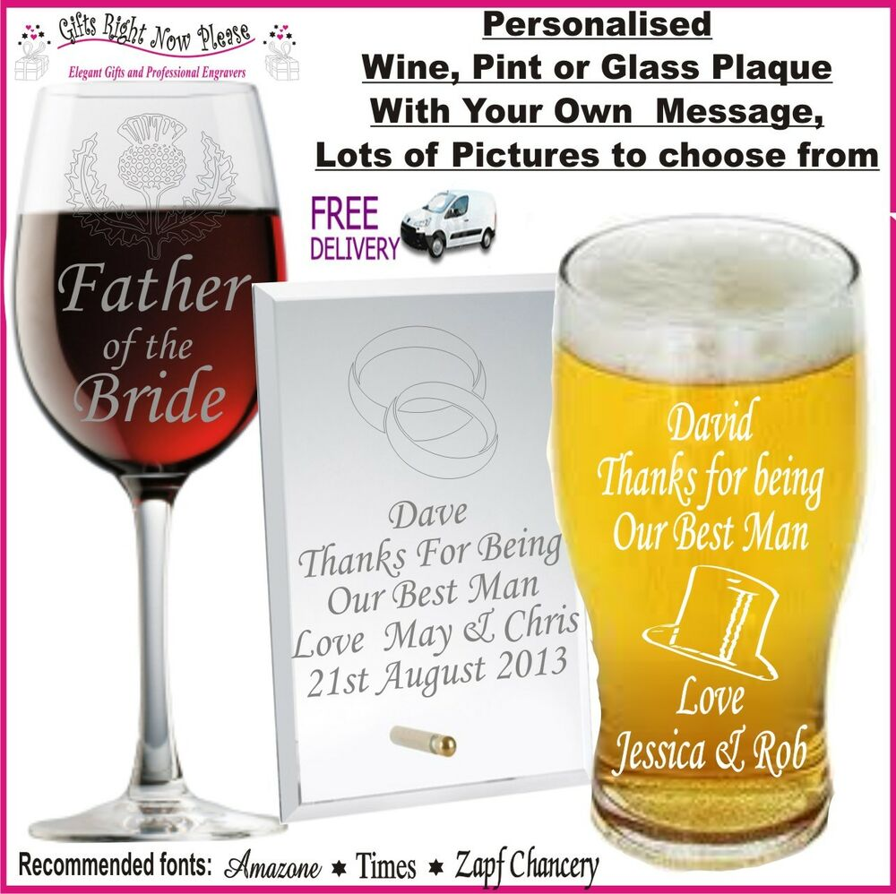 Best Man Wedding Gift Ideas: Personalised Glass Wedding Gifts Present Best Man Usher