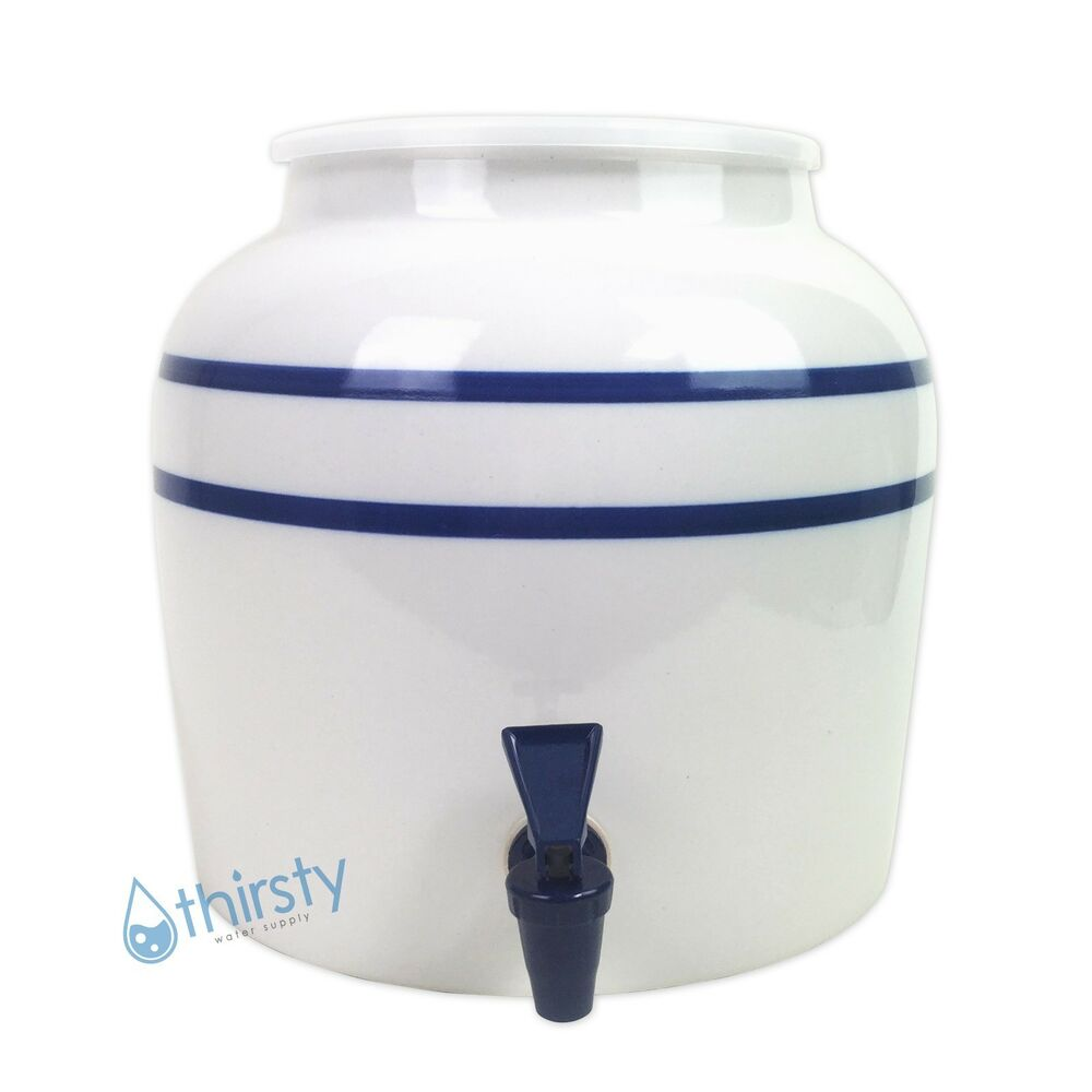 Water Crock Blue Pin Stripes Ceramic Porcelain Dispenser