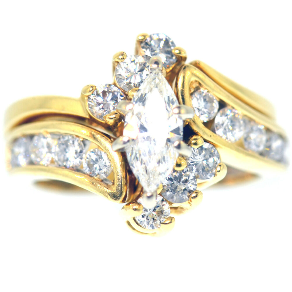 2 carat marquise cut diamond engagement ring set 14k for Ebay diamond wedding ring sets