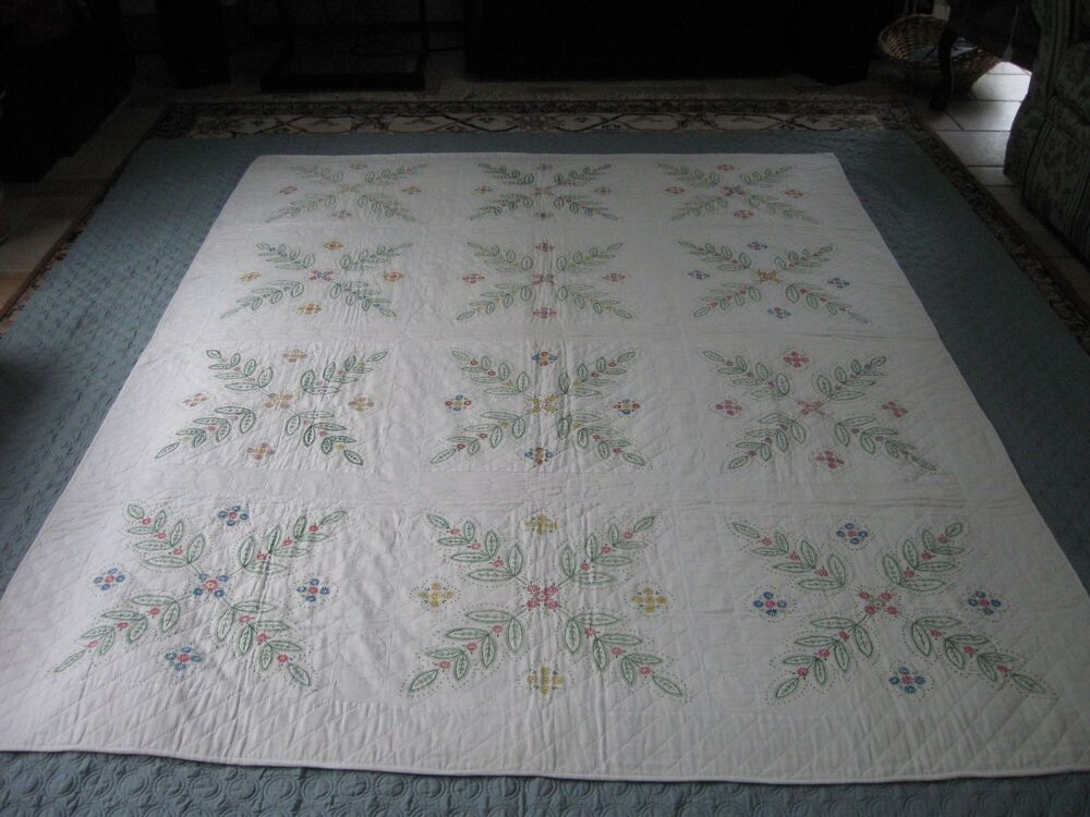 New Hand Painted Hand Quilted Twin Size Quilt Stunning