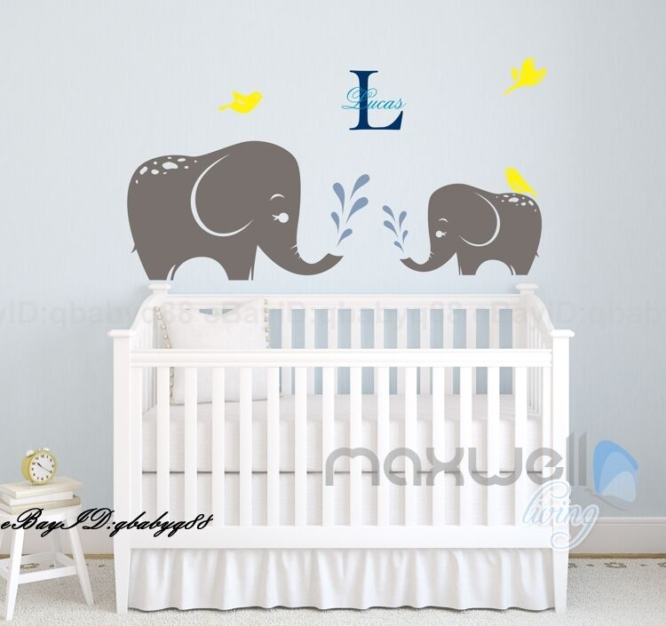2 elephant wall sticker vinyl decals kids nursery baby for Baby mural stickers