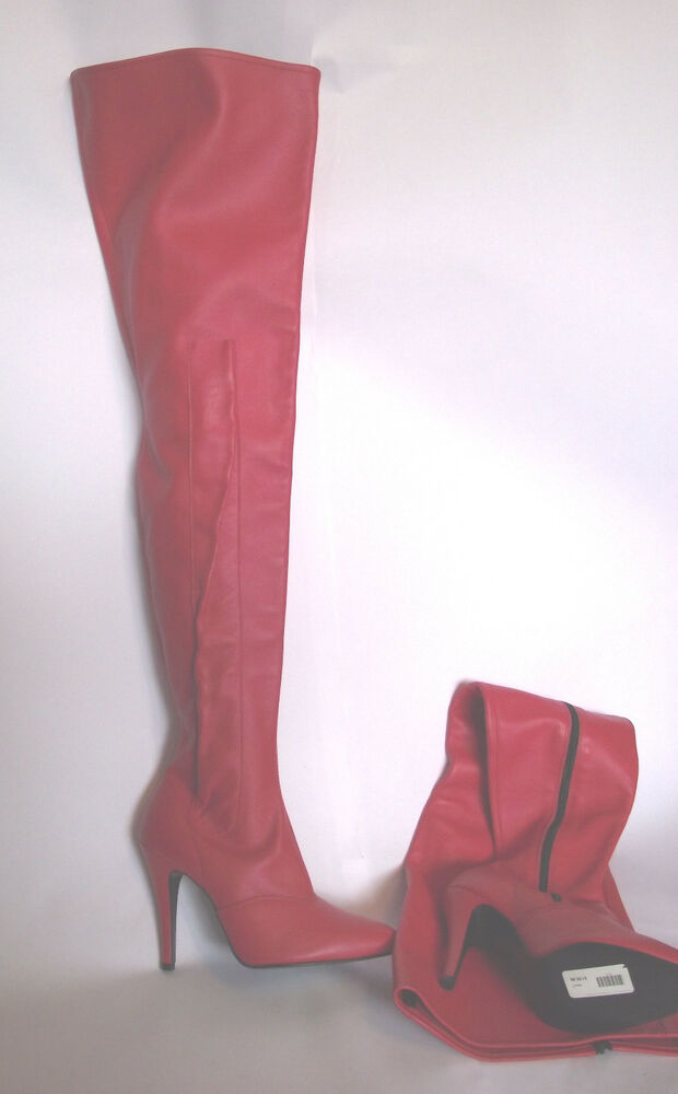 new thigh length leather 4 1 2 inch high heeled boots