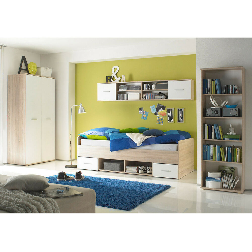 jugendzimmer nanu in wei und eiche sonoma 4 teilig bett kleiderschrank regale ebay. Black Bedroom Furniture Sets. Home Design Ideas