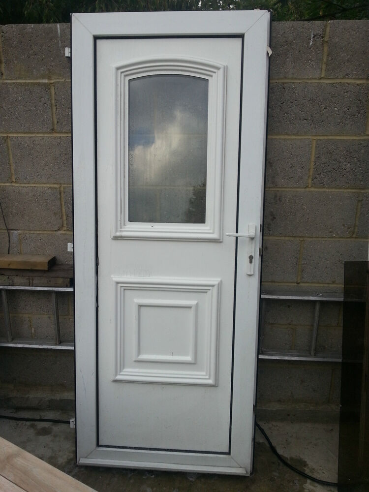 Upvc door double glazed white pvc external door and frame for External double doors and frames
