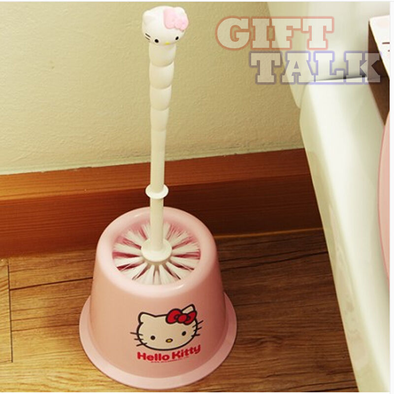 Sanrio hello kitty pink toilet brush bathroom restroom for Pink toilet accessories