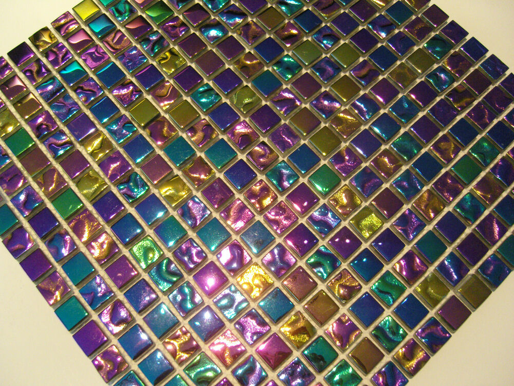 purple rain glas mosaik fliesen gold pink gr n blau lila purple perlmutt effekt ebay. Black Bedroom Furniture Sets. Home Design Ideas