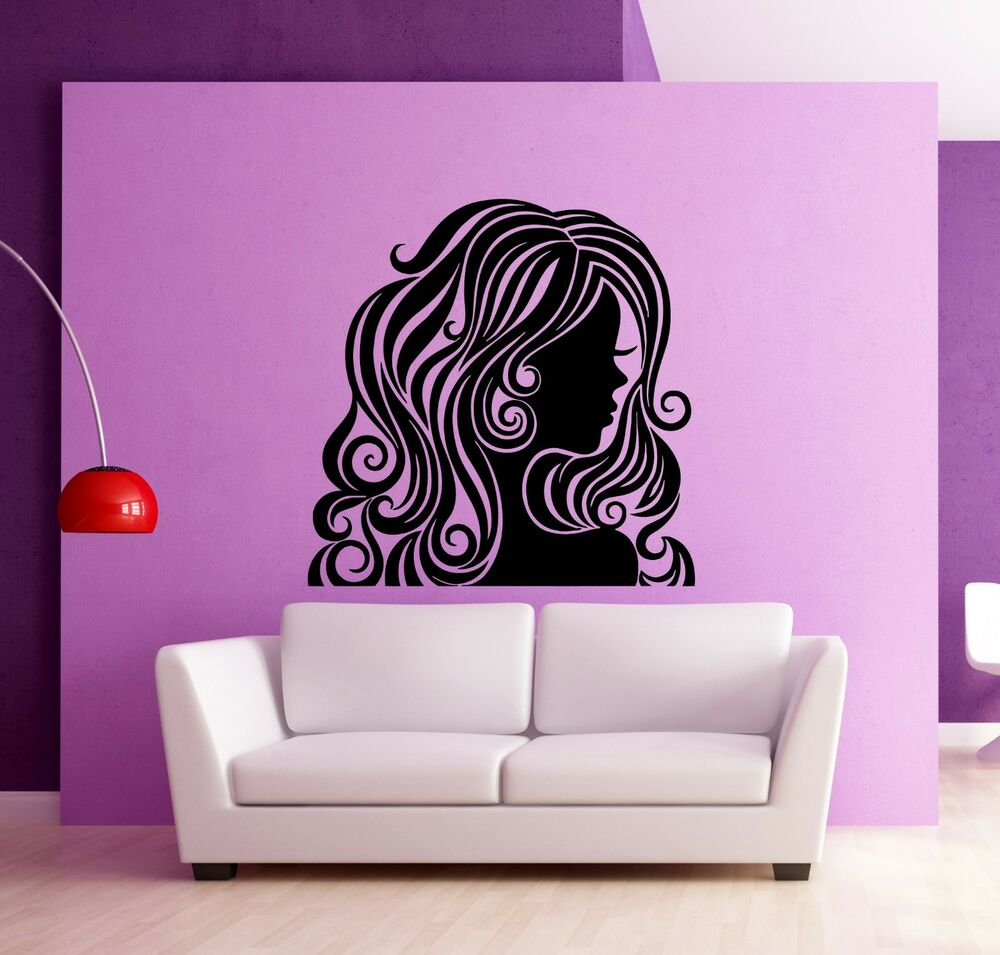 Wall stickers vinyl decal hot sexy girl female beauty hair for Stickers salon