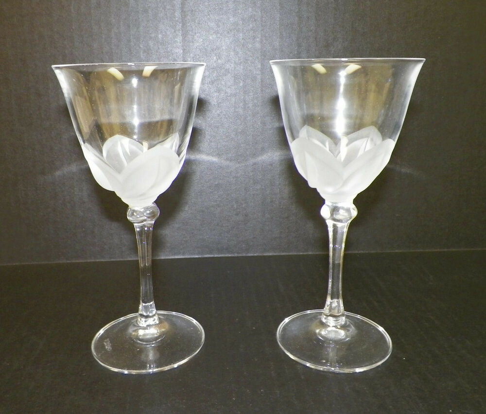 cristal j g durand florence satine white wine crystal glasses pair 2 6 5 8 ebay. Black Bedroom Furniture Sets. Home Design Ideas