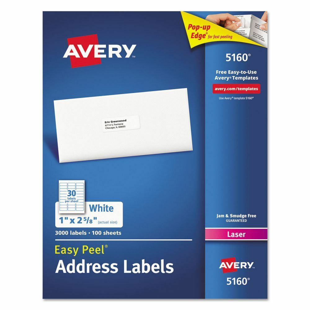 Avery 5260 Easy Peel White Laser Mailing Labels Permanent: Avery Easy Peel Address Labels - AVE5160 72782051600