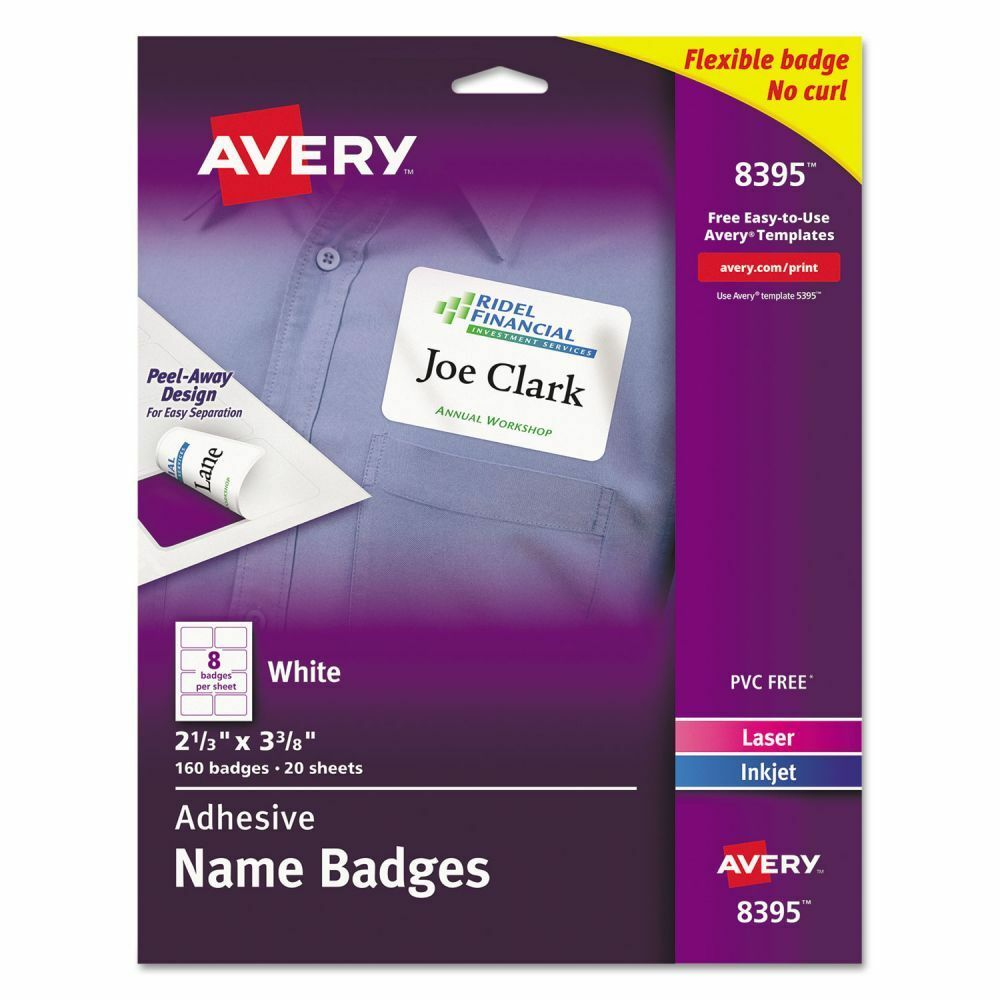 avery name plate template - avery adhesive name tags ave8395 ebay