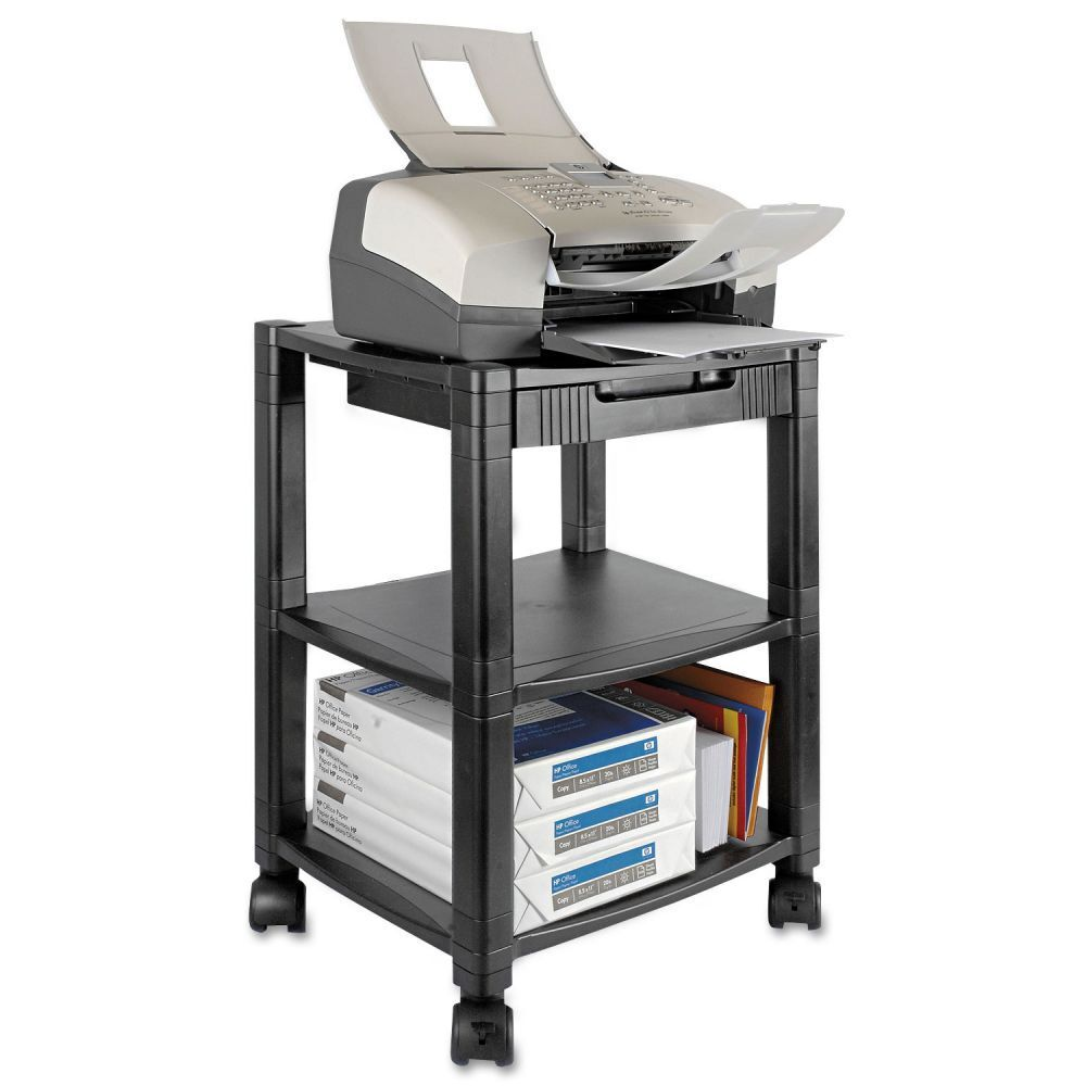 kantek three shelf printer stand with drawer 17 x 13 1 4 x 24 1 2 ktkps540 ebay. Black Bedroom Furniture Sets. Home Design Ideas