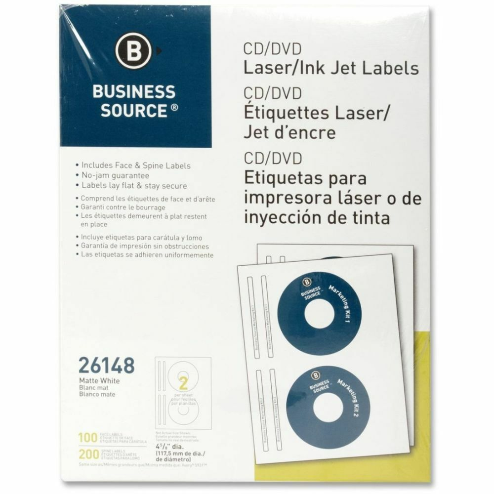 Business source 26148 cd dvd label 100 pack bsn26148 for Business source label templates