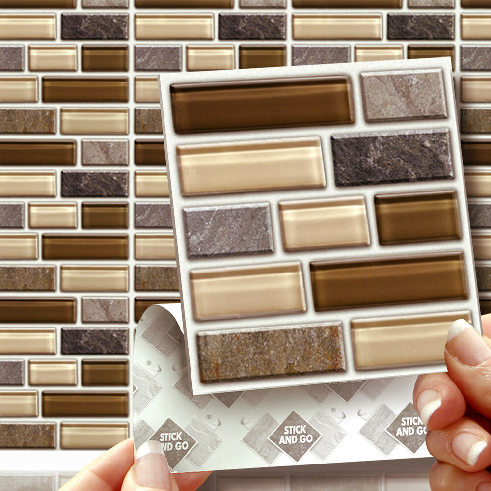 8 peel stick go glass stone tablet wall tiles stickers for Stick on tiles for bathroom