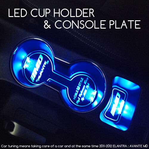 LED Cup Holder Console Plate Blue For 11 12 13 Hyundai ...
