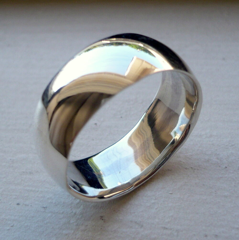 Man S Hand Bands: 8mm 925 STERLING SILVER MANS WEDDING BAND RING SIZES 5-14