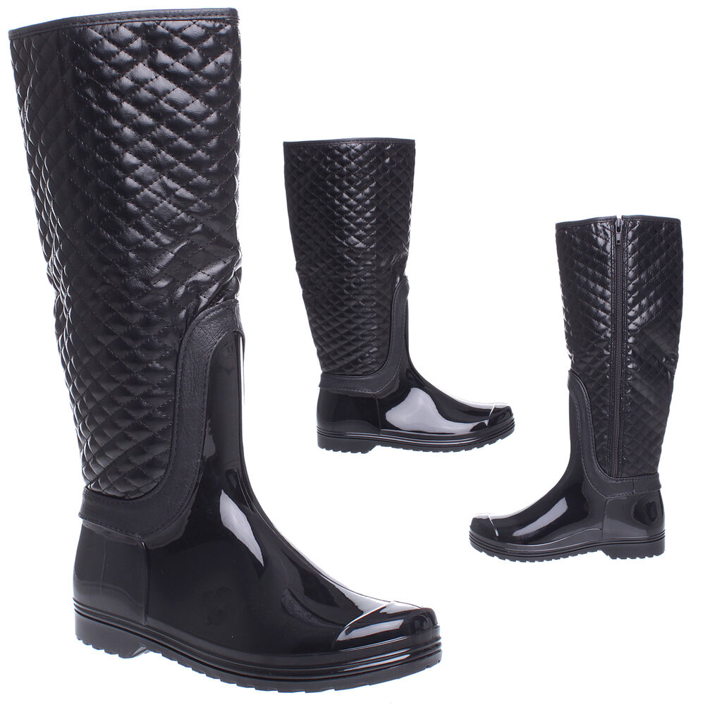 Womens Ladies Black Quilted Fashion Calf Knee High Riding