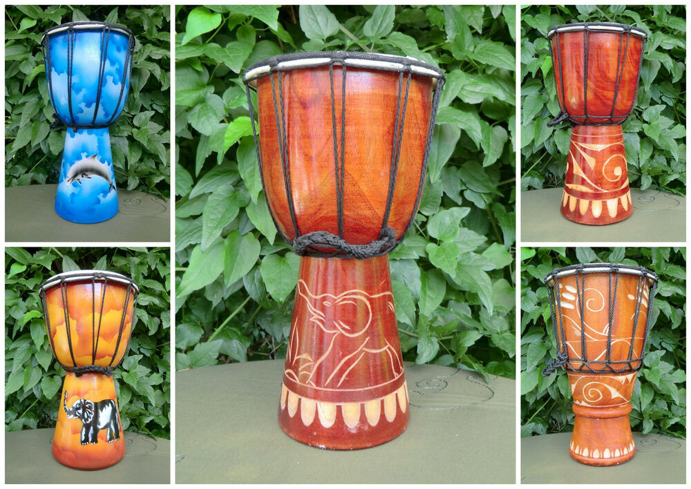 30 cm djembe kind trommel holz schnitzerei airbrush delfin. Black Bedroom Furniture Sets. Home Design Ideas