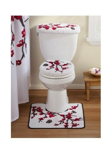 3 PC Asian Cherry Blossom Flowers Toilet Seat Cover Bath Mat Rug Commode Set