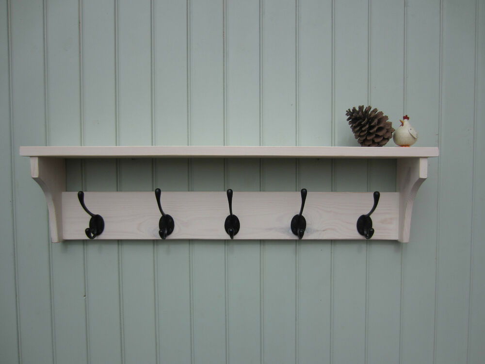 shabby chic white washed hat coat rack shelf with double hangers smshab 4hole ebay. Black Bedroom Furniture Sets. Home Design Ideas
