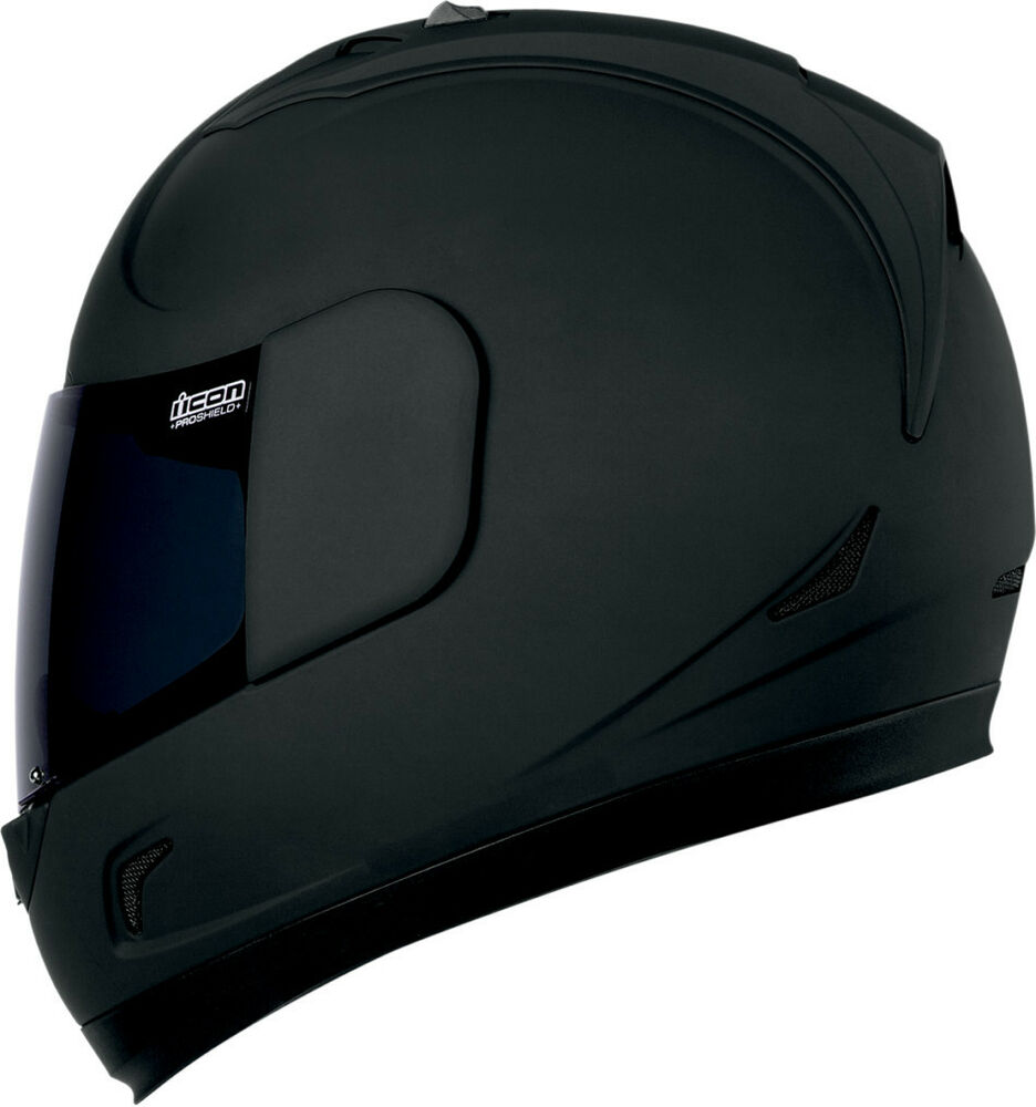ICON ALLIANCE DARK MATTE BLACK MOTORCYCLE HELMET STREET ...